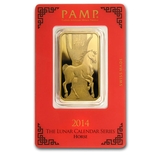 1 Ounce PAMP Suisse Gold Bar - Lunar Horse Series