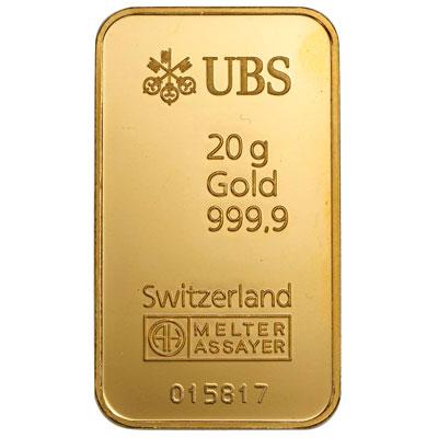 20 gram UBS gold bullion bar