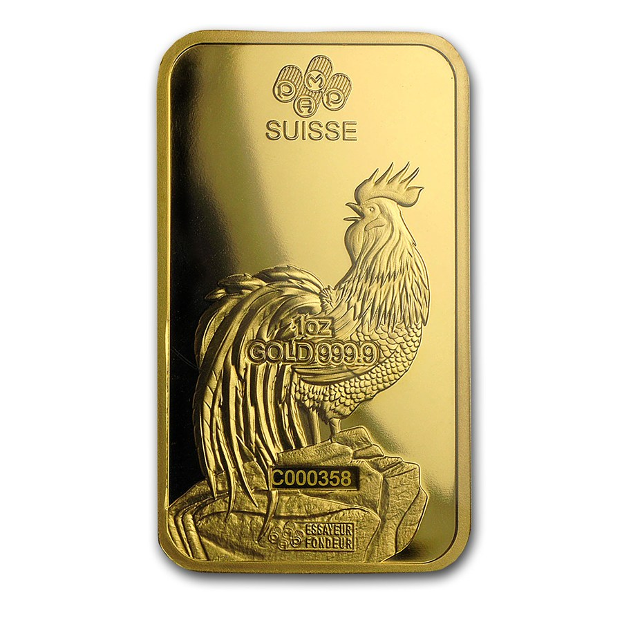 1 Ounce PAMP Suisse Gold Bar - Lunar Rooster Series