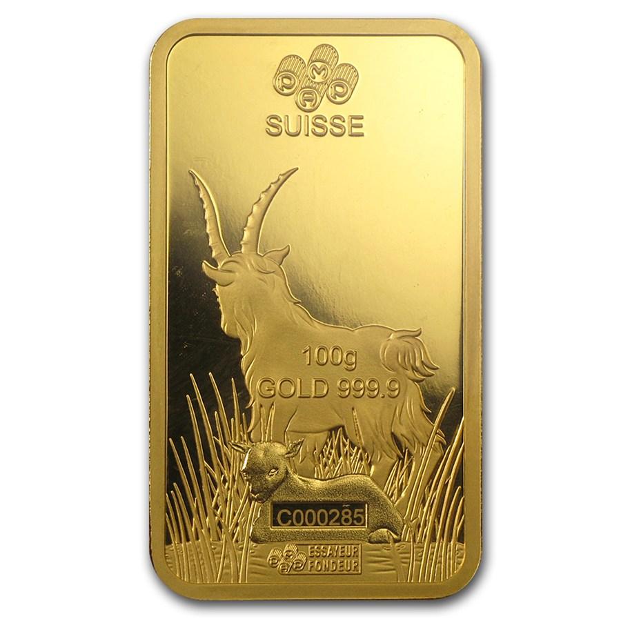 100 Gram PAMP Suisse Gold Bar - Lunar Goat Series